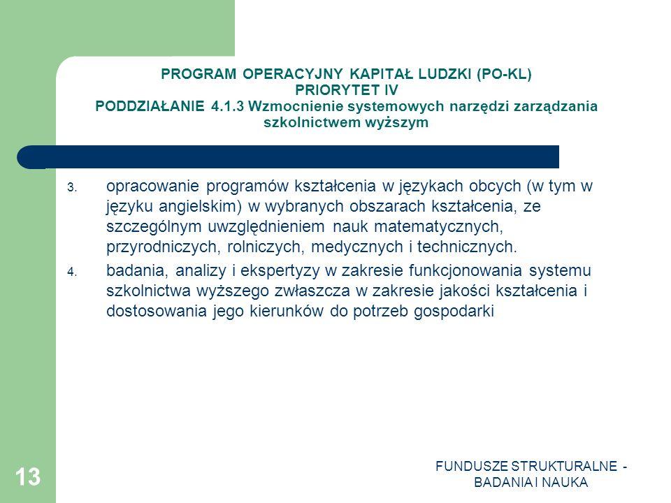 FUNDUSZE STRUKTURALNE - BADANIA I NAUKA 13 PROGRAM OPERACYJNY KAPITAŁ LUDZKI (PO-KL) PRIORYTET IV PODDZIAŁANIE 4.1.3 Wzmocnienie systemowych narzędzi