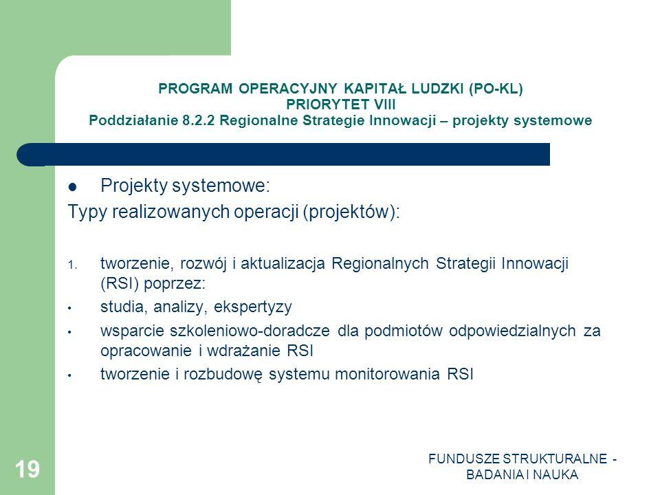FUNDUSZE STRUKTURALNE - BADANIA I NAUKA 19 PROGRAM OPERACYJNY KAPITAŁ LUDZKI (PO-KL) PRIORYTET VIII Poddziałanie 8.2.2 Regionalne Strategie Innowacji