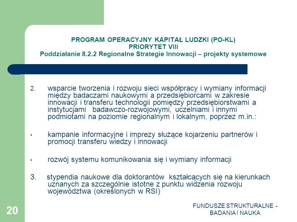 FUNDUSZE STRUKTURALNE - BADANIA I NAUKA 20 PROGRAM OPERACYJNY KAPITAŁ LUDZKI (PO-KL) PRIORYTET VIII Poddziałanie 8.2.2 Regionalne Strategie Innowacji