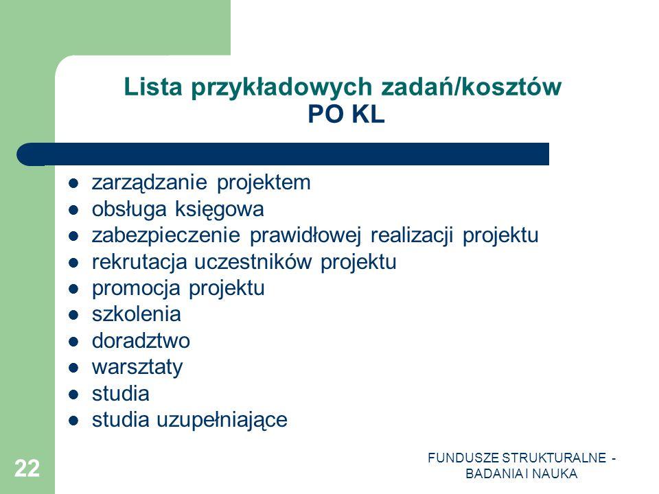 FUNDUSZE STRUKTURALNE - BADANIA I NAUKA 22 Lista przykładowych zadań/kosztów PO KL zarządzanie projektem obsługa księgowa zabezpieczenie prawidłowej r