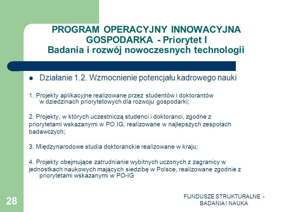 FUNDUSZE STRUKTURALNE - BADANIA I NAUKA 28 PROGRAM OPERACYJNY INNOWACYJNA GOSPODARKA - Priorytet I Badania i rozwój nowoczesnych technologii Działanie