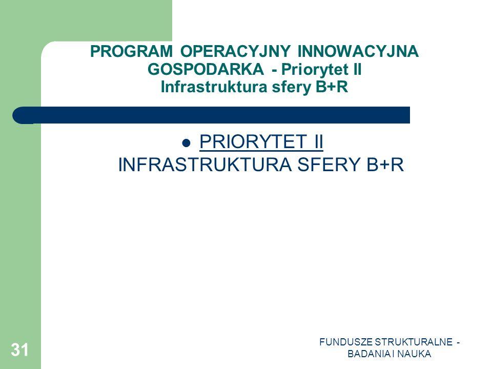 FUNDUSZE STRUKTURALNE - BADANIA I NAUKA 31 PROGRAM OPERACYJNY INNOWACYJNA GOSPODARKA - Priorytet II Infrastruktura sfery B+R PRIORYTET II INFRASTRUKTU