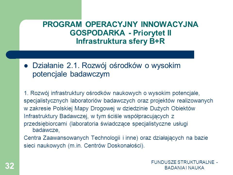 FUNDUSZE STRUKTURALNE - BADANIA I NAUKA 32 PROGRAM OPERACYJNY INNOWACYJNA GOSPODARKA - Priorytet II Infrastruktura sfery B+R Działanie 2.1. Rozwój ośr