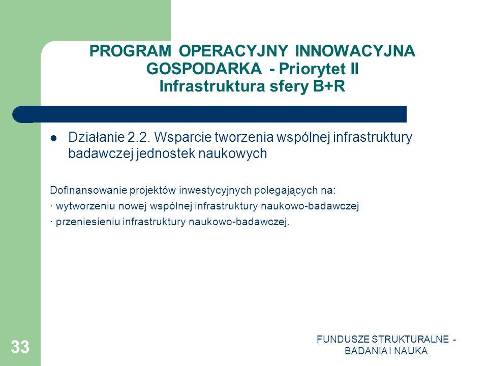 FUNDUSZE STRUKTURALNE - BADANIA I NAUKA 33 PROGRAM OPERACYJNY INNOWACYJNA GOSPODARKA - Priorytet II Infrastruktura sfery B+R Działanie 2.2. Wsparcie t