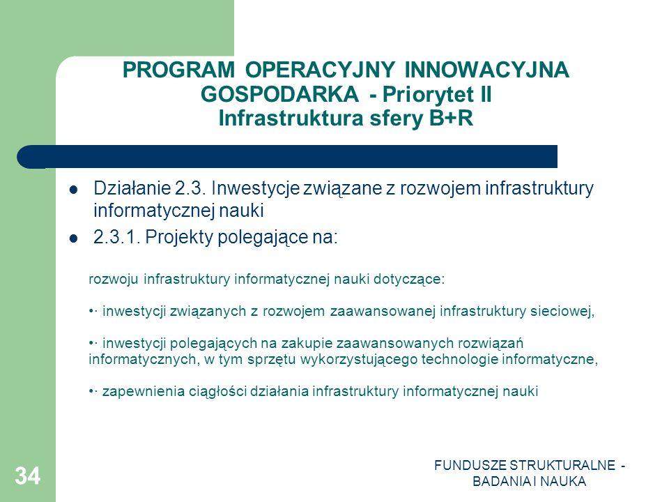 FUNDUSZE STRUKTURALNE - BADANIA I NAUKA 34 PROGRAM OPERACYJNY INNOWACYJNA GOSPODARKA - Priorytet II Infrastruktura sfery B+R Działanie 2.3. Inwestycje