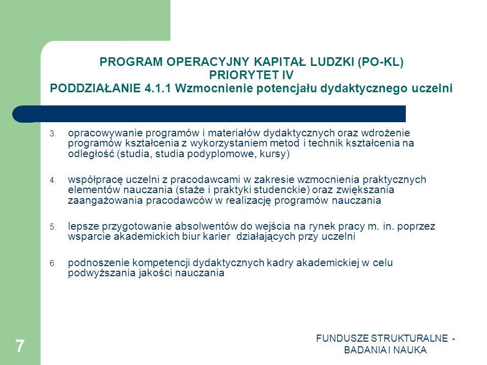 FUNDUSZE STRUKTURALNE - BADANIA I NAUKA 8 PROGRAM OPERACYJNY KAPITAŁ LUDZKI (PO-KL) PRIORYTET IV PODDZIAŁANIE 4.1.1 Wzmocnienie potencjału dydaktycznego uczelni 7.