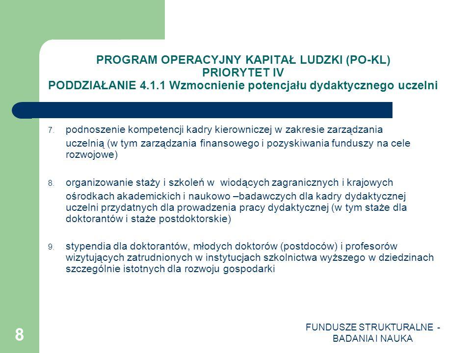 FUNDUSZE STRUKTURALNE - BADANIA I NAUKA 9 PROGRAM OPERACYJNY KAPITAŁ LUDZKI (PO-KL) PRIORYTET IV PODDZIAŁANIE 4.1.1 Wzmocnienie potencjału dydaktycznego uczelni 10.
