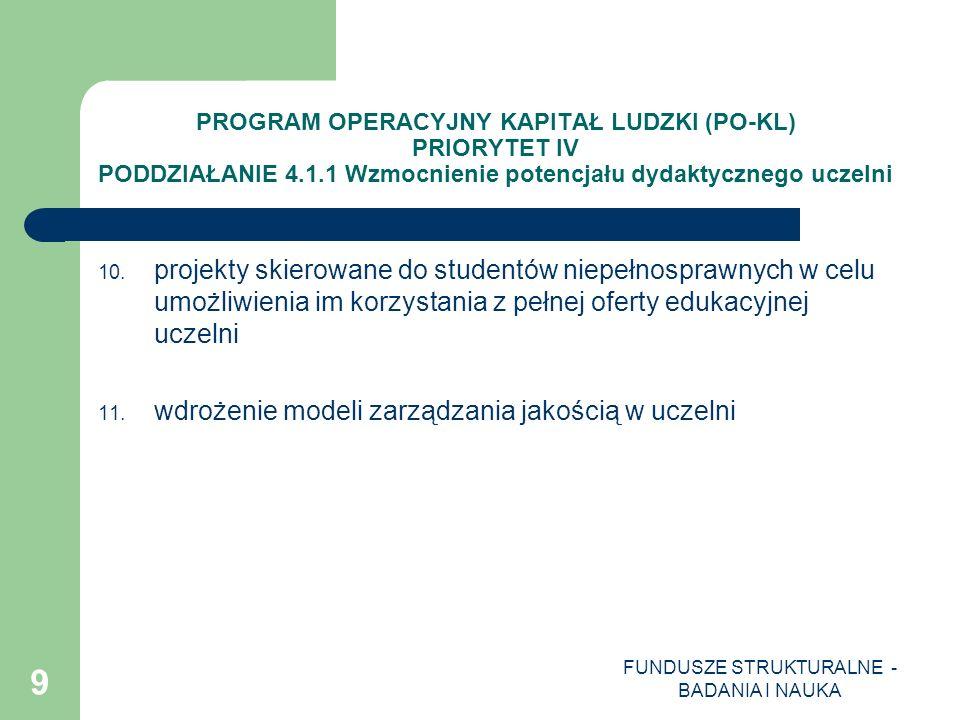 FUNDUSZE STRUKTURALNE - BADANIA I NAUKA 10 PROGRAM OPERACYJNY KAPITAŁ LUDZKI (PO-KL) PRIORYTET IV PODDZIAŁANIE 4.1.2 Zwiększenie liczby absolwentów kierunków o kluczowym znaczeniu dla gospodarki opartej na wiedzy Projekty systemowe: Typy realizowanych operacji (projektów): 1.