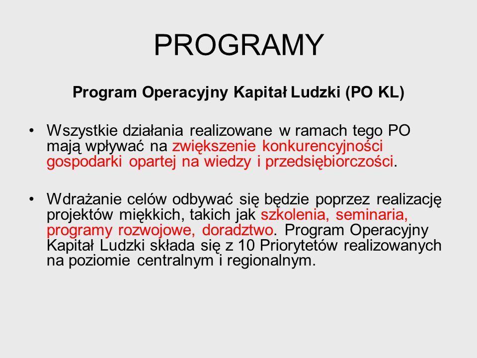 PROGRAMY Program Operacyjny Innowacyjna Gospodarka (POIG) Program ma na celu wspieranie szeroko rozumianej innowacyjności.