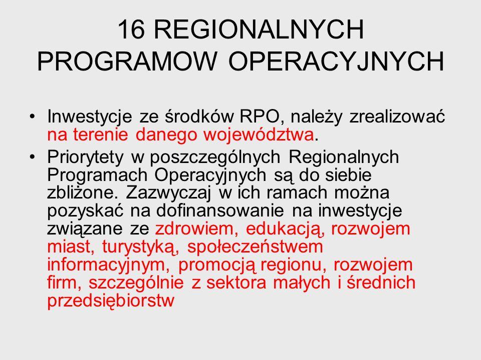 16 REGIONALNYCH PROGRAMOW OPERACYJNYCH Inwestycje ze środków RPO, należy zrealizować na terenie danego województwa.