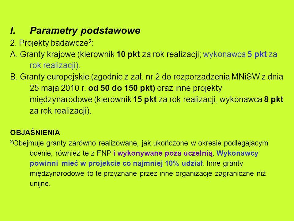 I.Parametry podstawowe 2. Projekty badawcze 2 : A. Granty krajowe (kierownik 10 pkt za rok realizacji; wykonawca 5 pkt za rok realizacji). B. Granty e