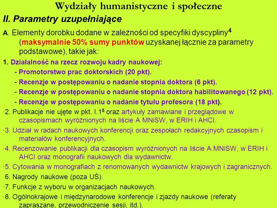 Wydziały humanistyczne i społeczne II. Parametry uzupełniające A. Elementy dorobku dodane w zależności od specyfiki dyscypliny 4 (maksymalnie 50% sumy