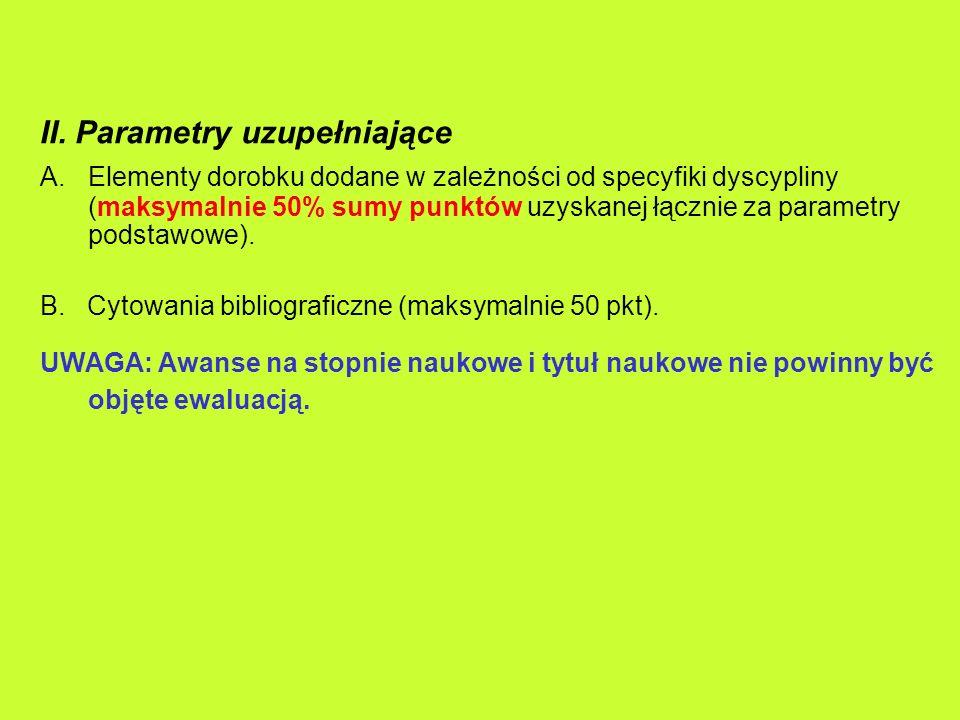 II. Parametry uzupełniające A.Elementy dorobku dodane w zależności od specyfiki dyscypliny (maksymalnie 50% sumy punktów uzyskanej łącznie za parametr