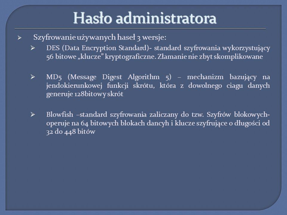 Hasło administratora Szyfrowanie używanych haseł 3 wersje: DES (Data Encryption Standard)- standard szyfrowania wykorzystujący 56 bitowe klucze krypto