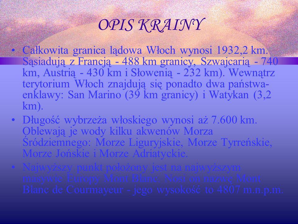 OPIS KRAINY Całkowita granica lądowa Włoch wynosi 1932,2 km.