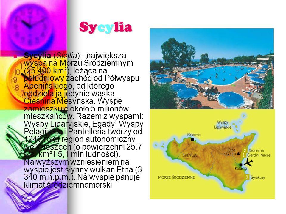 Sycylia Sycylia (Sicilia) - największa wyspa na Morzu Śródziemnym (25 400 km²), leżąca na południowy zachód od Półwyspu Apenińskiego, od którego oddziela ją jedynie wąska Cieśnina Mesyńska.