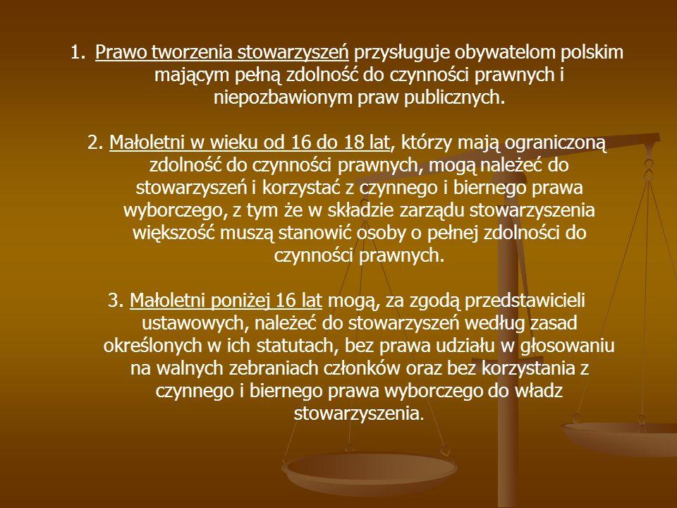 1.Prawo tworzenia stowarzyszeń przysługuje obywatelom polskim mającym pełną zdolność do czynności prawnych i niepozbawionym praw publicznych. 2. Małol