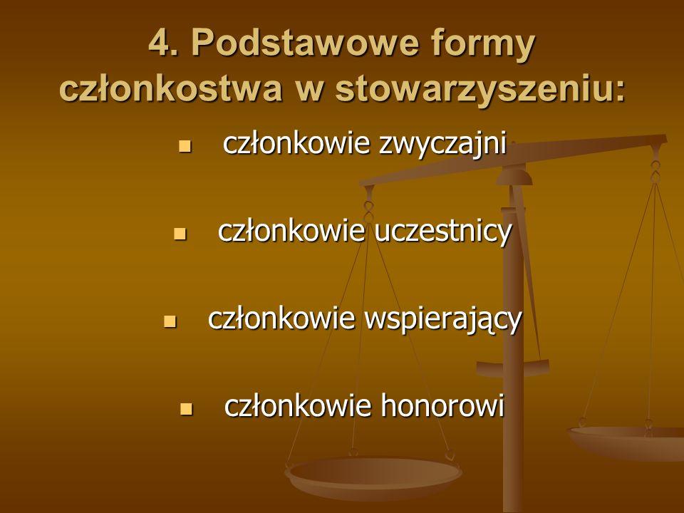 4. Podstawowe formy członkostwa w stowarzyszeniu: członkowie zwyczajni członkowie zwyczajni członkowie uczestnicy członkowie uczestnicy członkowie wsp