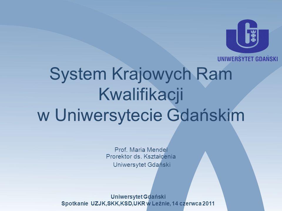 Uniwersytet Gdański Spotkanie UZJK,SKK,KSD,UKR w Leźnie, 14 czerwca 2011 System Krajowych Ram Kwalifikacji w Uniwersytecie Gdańskim Prof. Maria Mendel