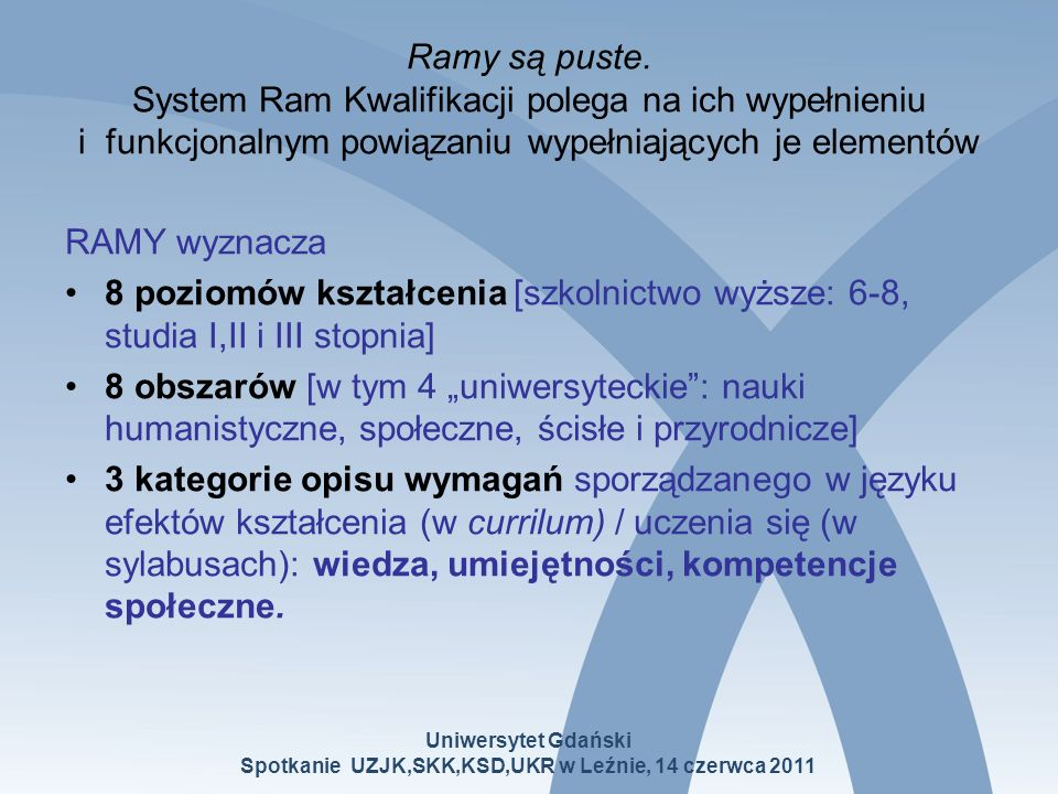 Ramy są puste. System Ram Kwalifikacji polega na ich wypełnieniu i funkcjonalnym powiązaniu wypełniających je elementów RAMY wyznacza 8 poziomów kszta