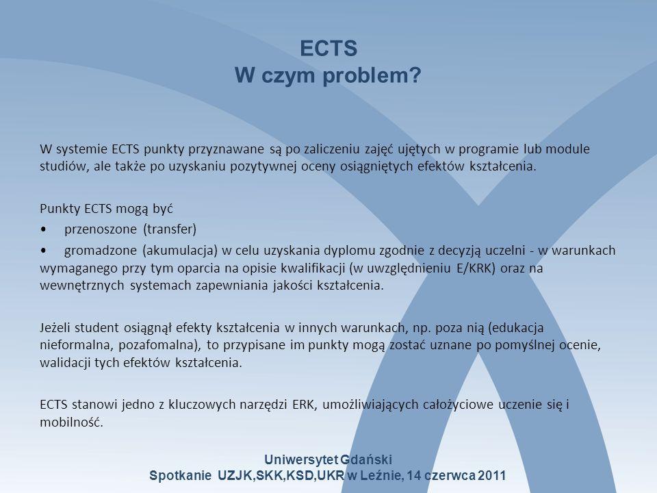 ECTS W czym problem? W systemie ECTS punkty przyznawane są po zaliczeniu zajęć ujętych w programie lub module studiów, ale także po uzyskaniu pozytywn