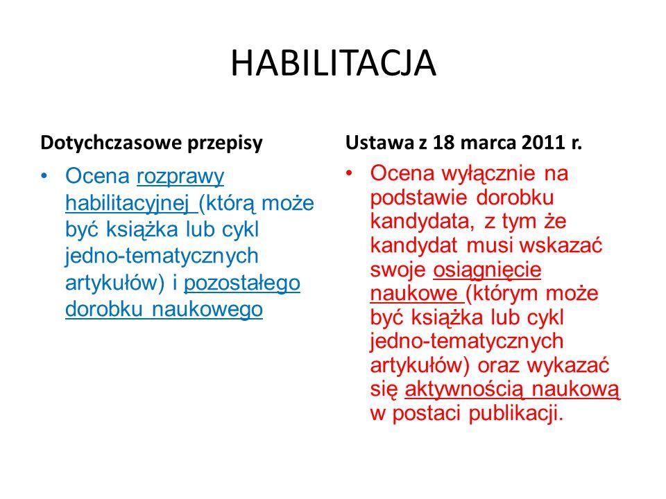 HABILITACJA Dotychczasowe przepisy Ocena rozprawy habilitacyjnej (którą może być książka lub cykl jedno-tematycznych artykułów) i pozostałego dorobku
