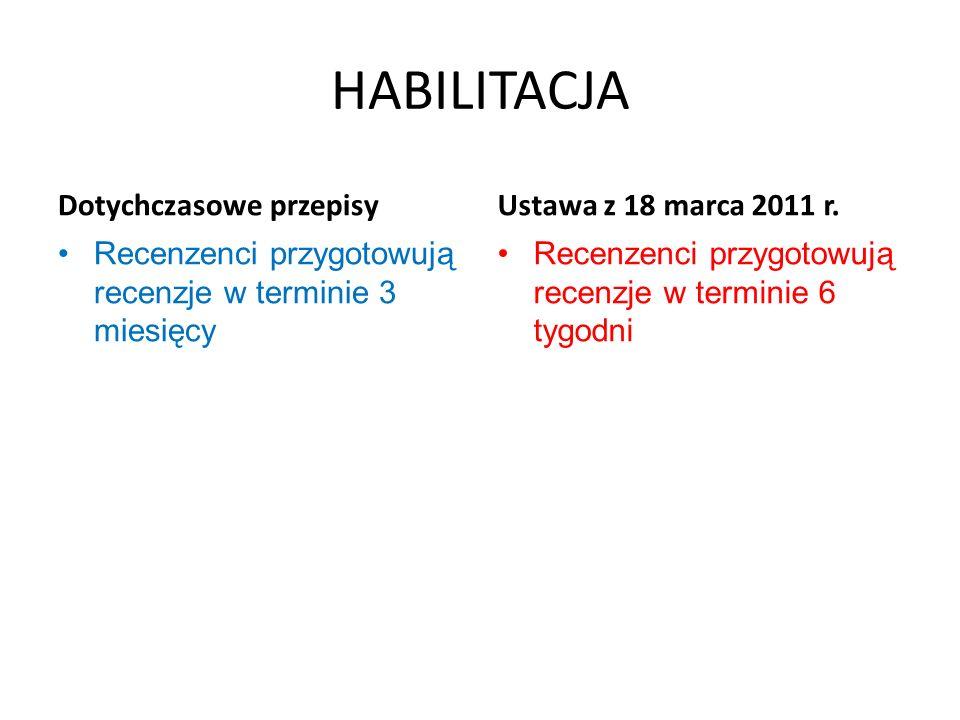 HABILITACJA Dotychczasowe przepisy Recenzenci przygotowują recenzje w terminie 3 miesięcy Ustawa z 18 marca 2011 r. Recenzenci przygotowują recenzje w
