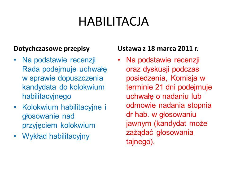 HABILITACJA Dotychczasowe przepisy Na podstawie recenzji Rada podejmuje uchwałę w sprawie dopuszczenia kandydata do kolokwium habilitacyjnego Kolokwiu