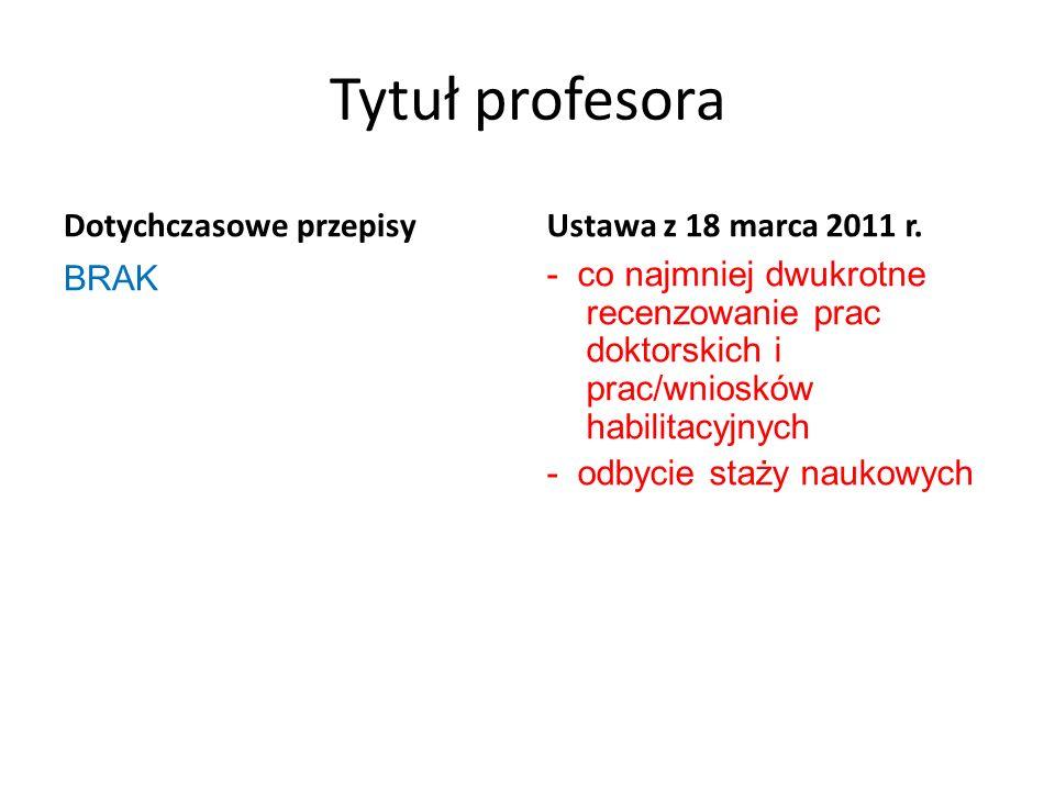 Tytuł profesora Dotychczasowe przepisy BRAK Ustawa z 18 marca 2011 r. - co najmniej dwukrotne recenzowanie prac doktorskich i prac/wniosków habilitacy