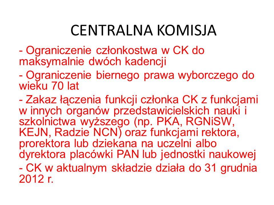 CENTRALNA KOMISJA - Ograniczenie członkostwa w CK do maksymalnie dwóch kadencji - Ograniczenie biernego prawa wyborczego do wieku 70 lat - Zakaz łącze