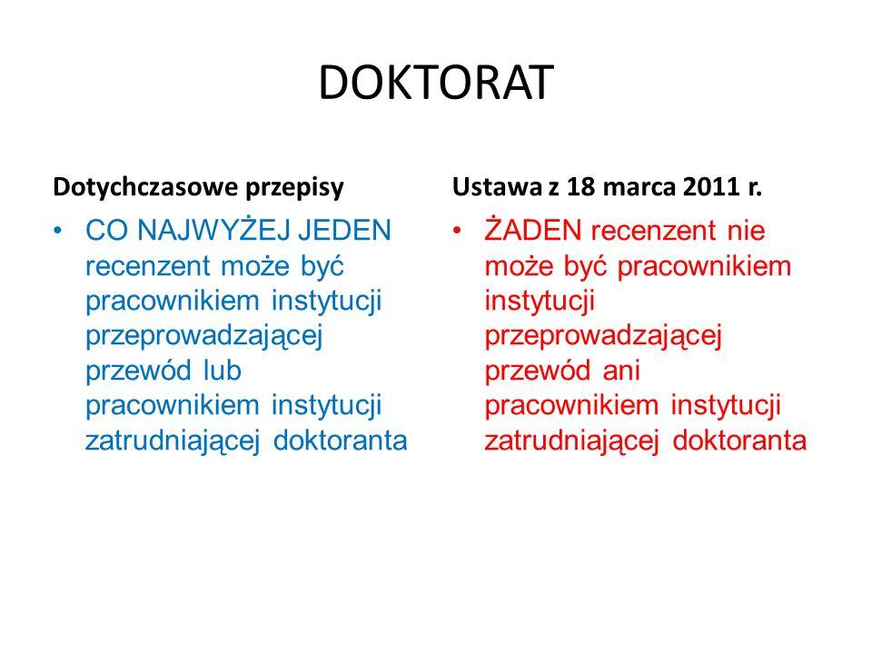 DOKTORAT Dotychczasowe przepisy Brak wymogu zamieszczania informacji o pracy doktorskiej i recenzjach na stronach internetowych Ustawa z 18 marca 2011 r.