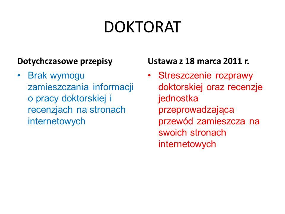DOKTORAT Dotychczasowe przepisy Brak wymogu zamieszczania informacji o pracy doktorskiej i recenzjach na stronach internetowych Ustawa z 18 marca 2011