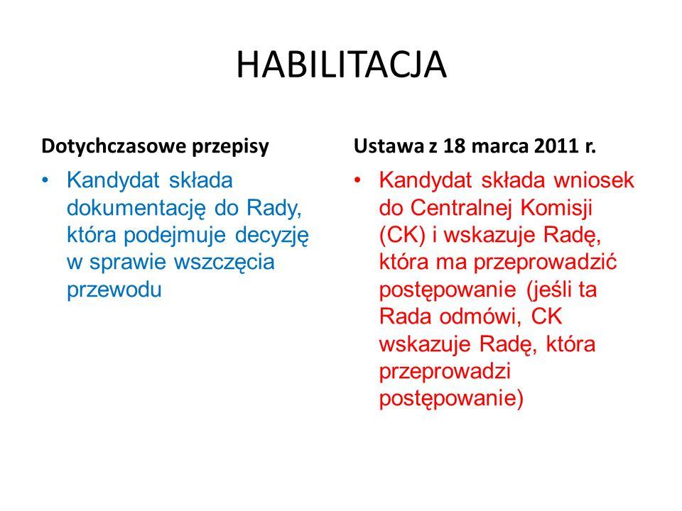 HABILITACJA Dotychczasowe przepisy Kandydat składa dokumentację do Rady, która podejmuje decyzję w sprawie wszczęcia przewodu Ustawa z 18 marca 2011 r