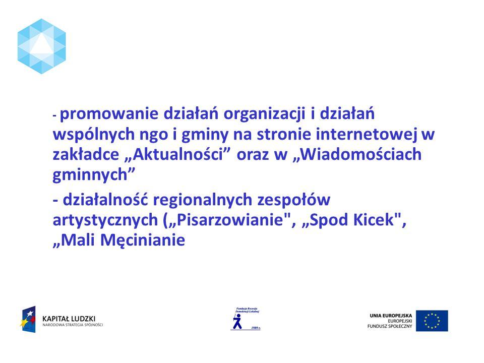 - promowanie działań organizacji i działań wspólnych ngo i gminy na stronie internetowej w zakładce Aktualności oraz w Wiadomościach gminnych - działalność regionalnych zespołów artystycznych (Pisarzowianie , Spod Kicek , Mali Męcinianie