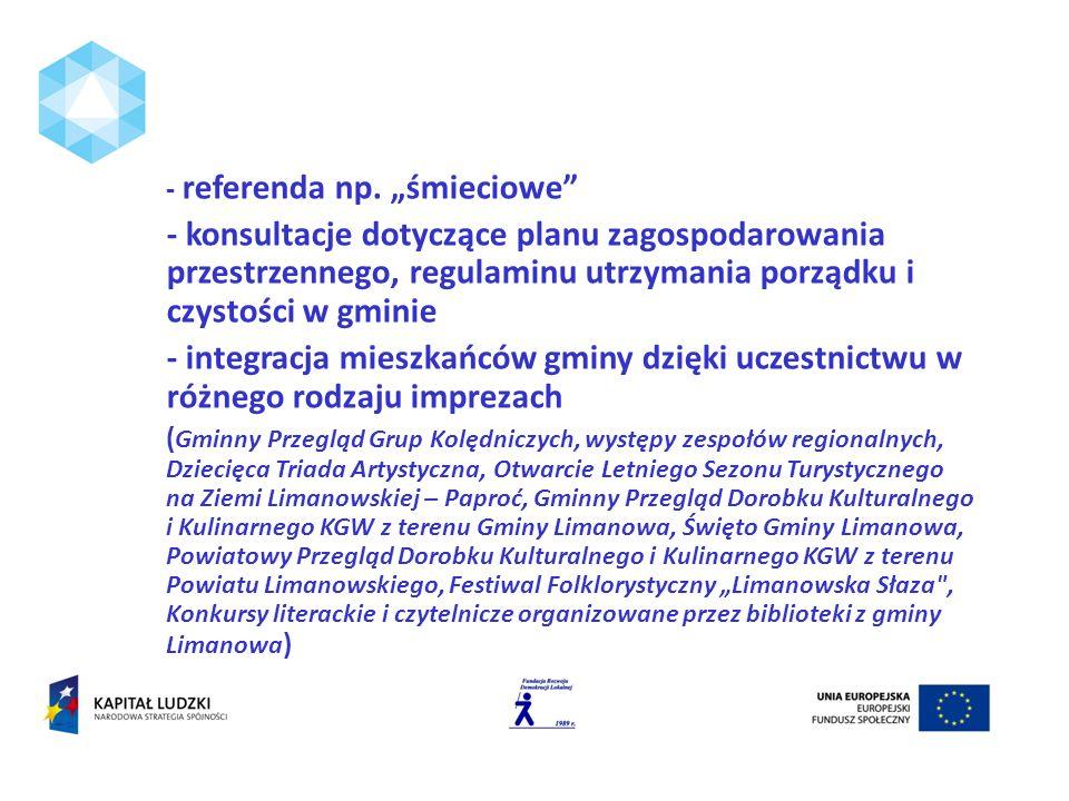 - referenda np. śmieciowe - konsultacje dotyczące planu zagospodarowania przestrzennego, regulaminu utrzymania porządku i czystości w gminie - integra