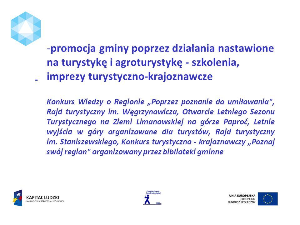 -promocja gminy poprzez działania nastawione na turystykę i agroturystykę - szkolenia, imprezy turystyczno-krajoznawcze Konkurs Wiedzy o Regionie Popr