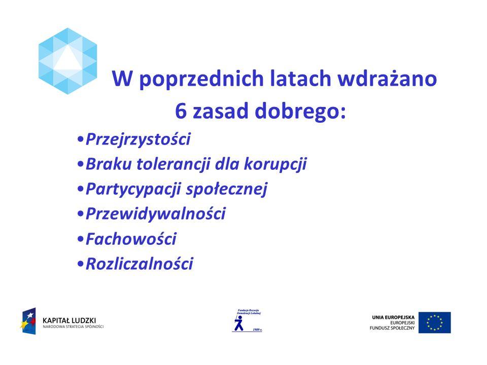 W poprzednich latach wdrażano 6 zasad dobrego: Przejrzystości Braku tolerancji dla korupcji Partycypacji społecznej Przewidywalności Fachowości Rozliczalności