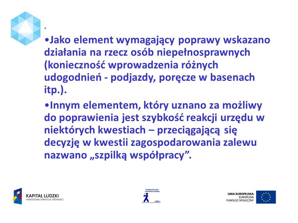 Jako element wymagający poprawy wskazano działania na rzecz osób niepełnosprawnych (konieczność wprowadzenia różnych udogodnień - podjazdy, poręcze w basenach itp.).