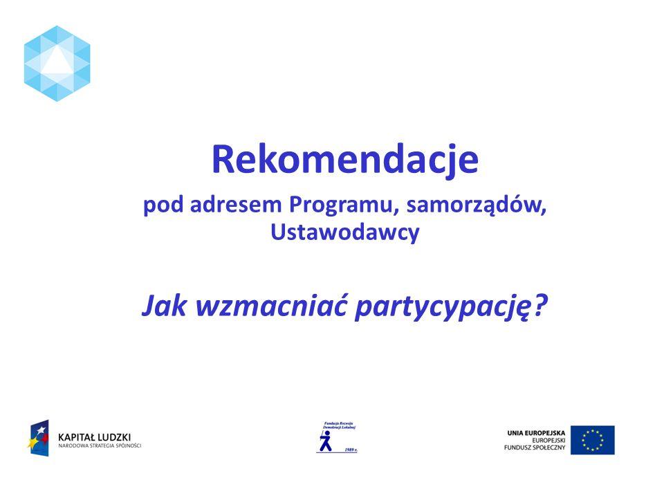 Rekomendacje pod adresem Programu, samorządów, Ustawodawcy Jak wzmacniać partycypację?