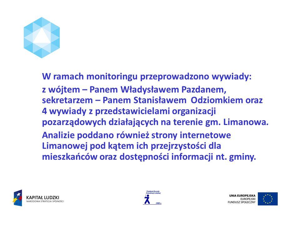 W ramach monitoringu przeprowadzono wywiady: z wójtem – Panem Władysławem Pazdanem, sekretarzem – Panem Stanisławem Odziomkiem oraz 4 wywiady z przedstawicielami organizacji pozarządowych działających na terenie gm.