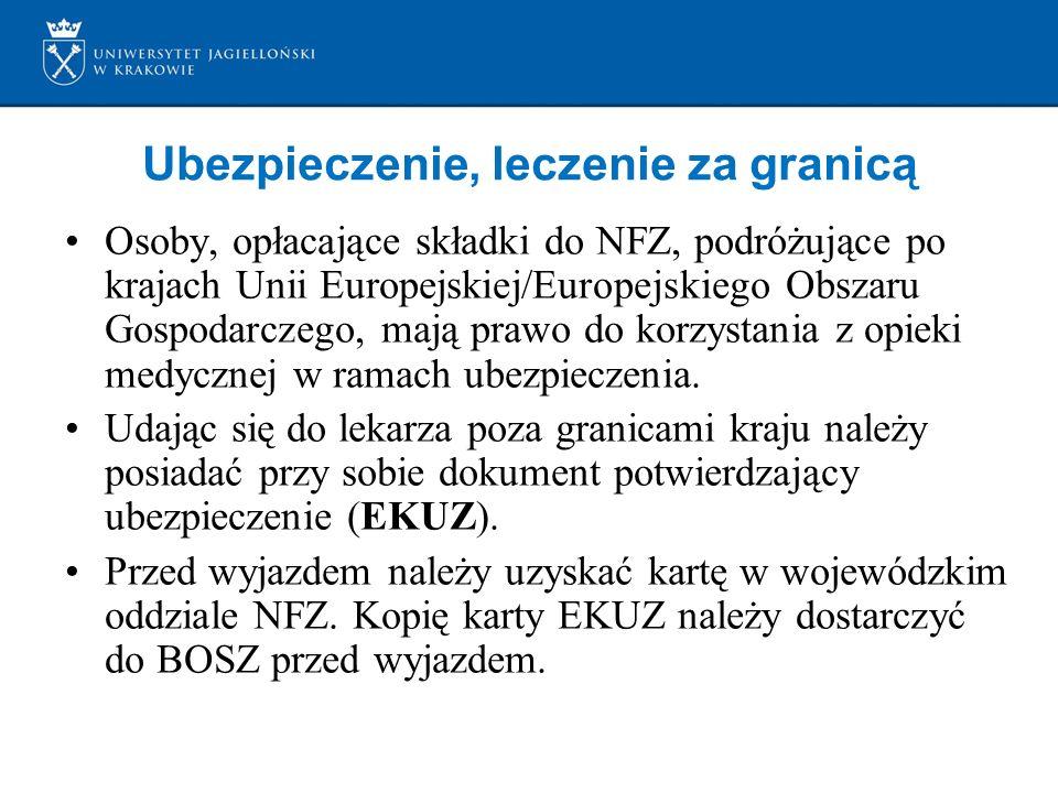 Ubezpieczenie, leczenie za granicą Osoby, opłacające składki do NFZ, podróżujące po krajach Unii Europejskiej/Europejskiego Obszaru Gospodarczego, maj