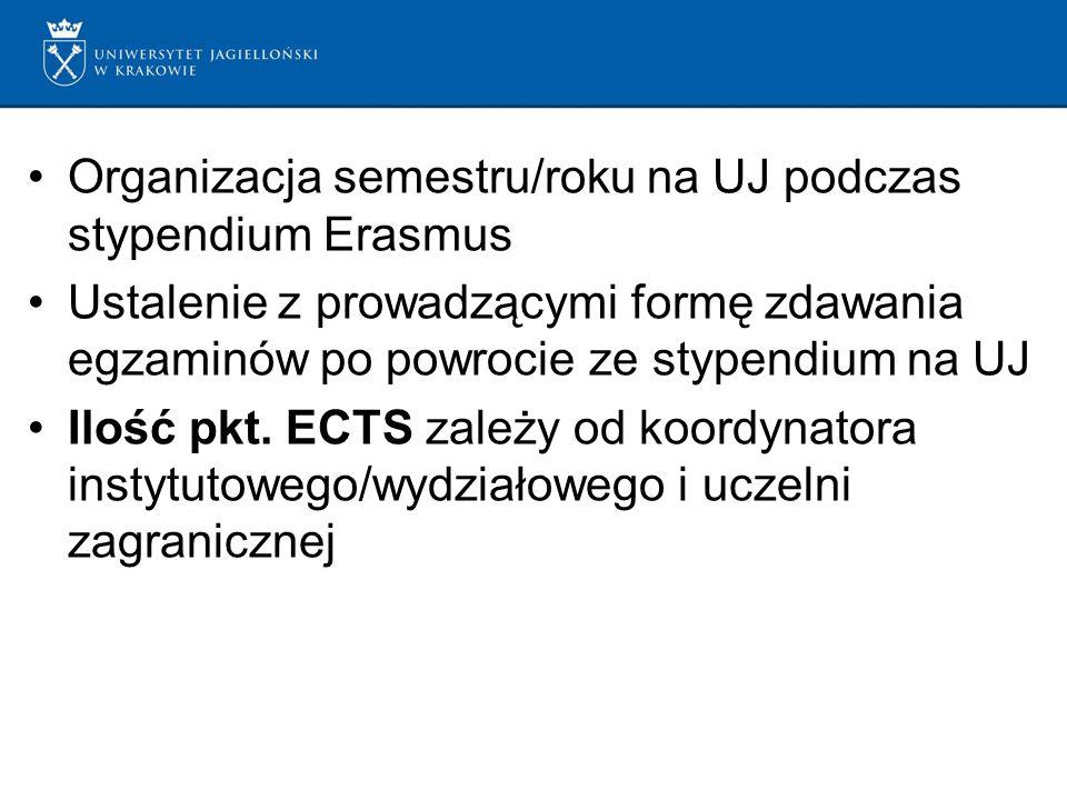 Organizacja semestru/roku na UJ podczas stypendium Erasmus Ustalenie z prowadzącymi formę zdawania egzaminów po powrocie ze stypendium na UJ Ilość pkt