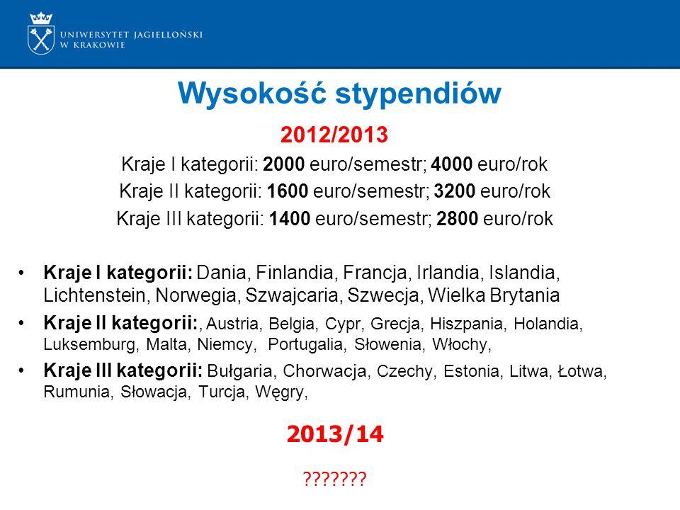 Wysokość stypendiów 2012/2013 Kraje I kategorii: 2000 euro/semestr; 4000 euro/rok Kraje II kategorii: 1600 euro/semestr; 3200 euro/rok Kraje III kateg