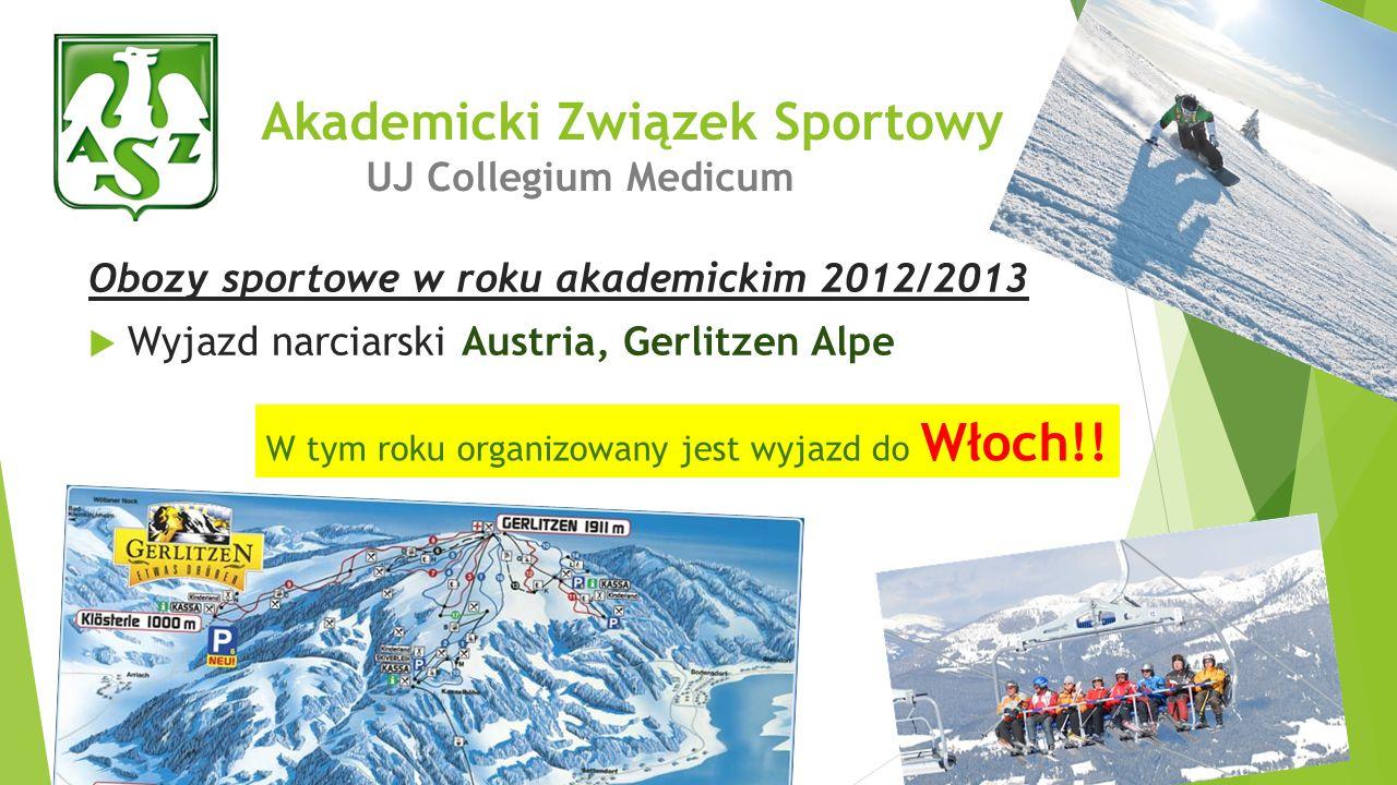 Obozy sportowe w roku akademickim 2012/2013 Wyjazd narciarski Austria, Gerlitzen Alpe Akademicki Związek Sportowy UJ Collegium Medicum W tym roku orga