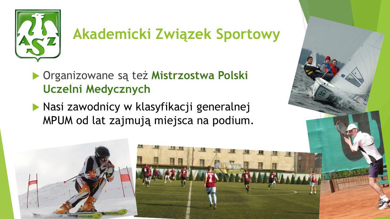 Akademicki Związek Sportowy Organizowane są też Mistrzostwa Polski Uczelni Medycznych Nasi zawodnicy w klasyfikacji generalnej MPUM od lat zajmują mie