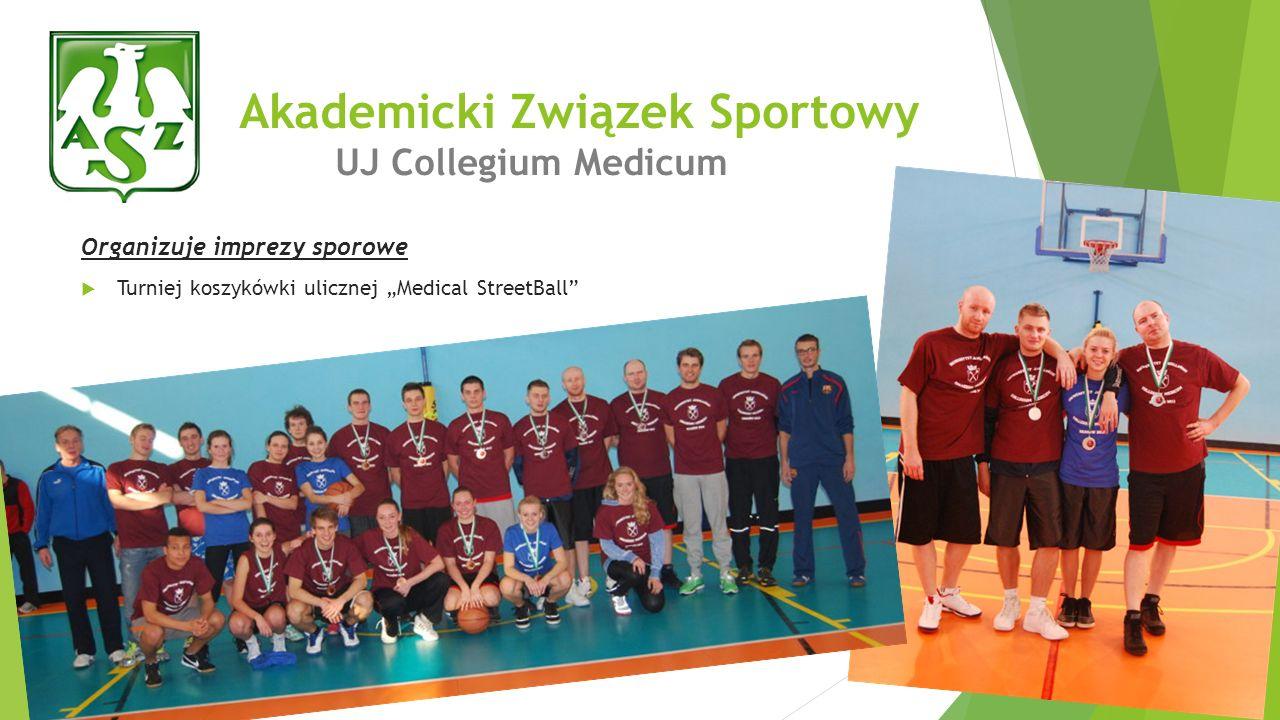 Organizuje imprezy sporowe Turniej koszykówki ulicznej Medical StreetBall Akademicki Związek Sportowy UJ Collegium Medicum