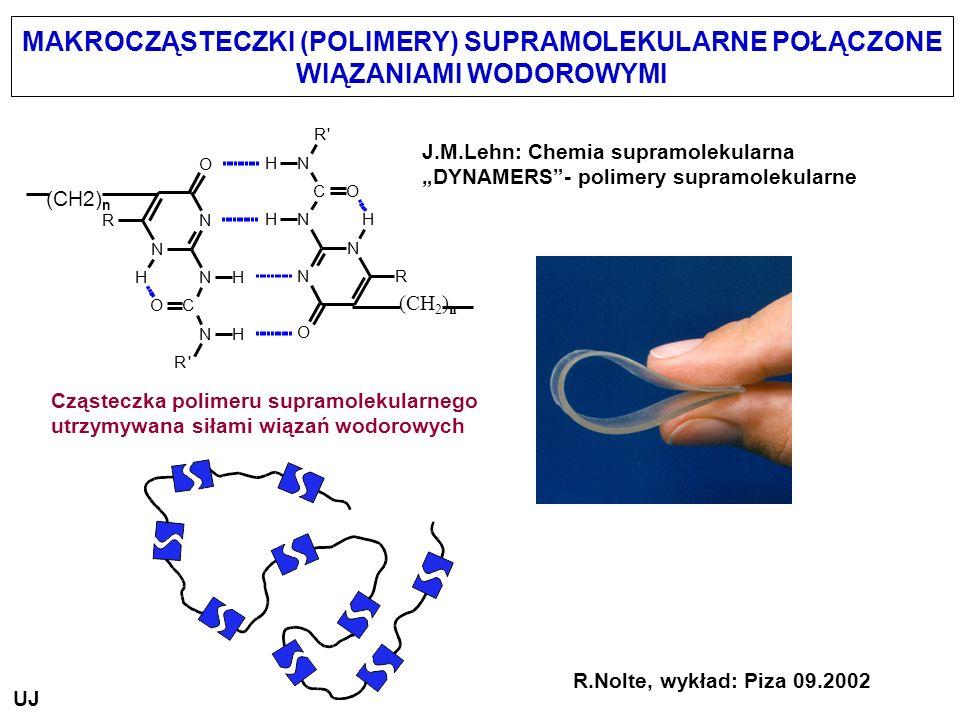 MAKROCZĄSTECZKI (POLIMERY) SUPRAMOLEKULARNE POŁĄCZONE WIĄZANIAMI WODOROWYMI R.Nolte, wykład: Piza 09.2002 J.M.Lehn: Chemia supramolekularna DYNAMERS-