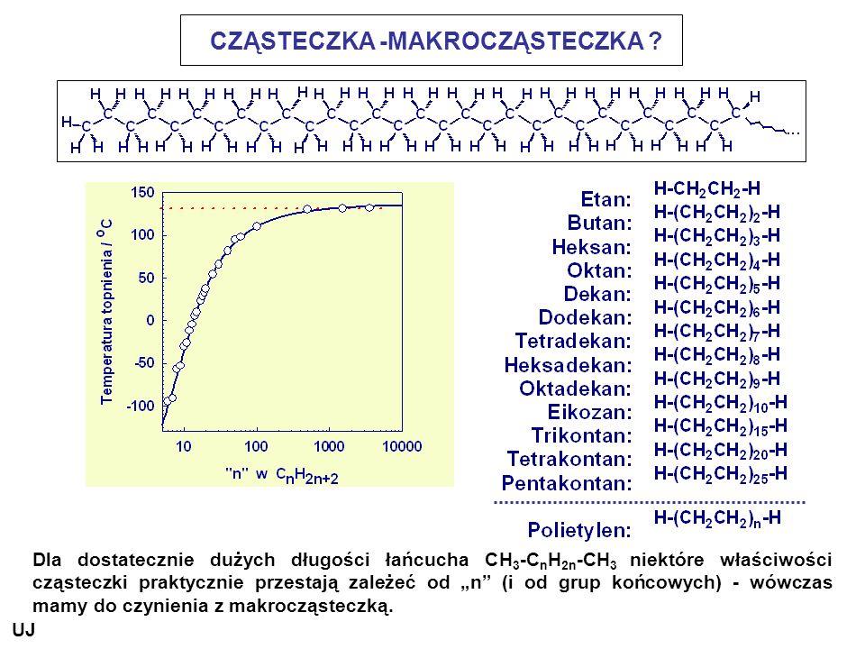CZĄSTECZKA -MAKROCZĄSTECZKA ? Dla dostatecznie dużych długości łańcucha CH 3 -C n H 2n -CH 3 niektóre właściwości cząsteczki praktycznie przestają zal