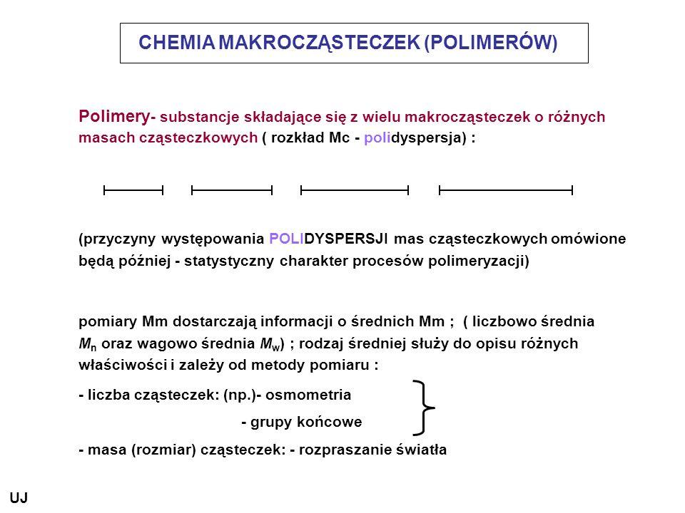 CHEMIA MAKROCZĄSTECZEK (POLIMERÓW) Polimery - substancje składające się z wielu makrocząsteczek o różnych masach cząsteczkowych ( rozkład Mc - polidys