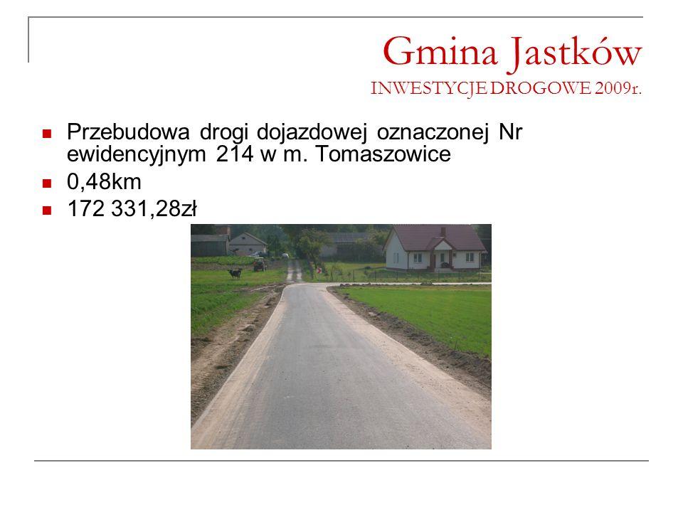 Gmina Jastków INWESTYCJE DROGOWE 2009r. Przebudowa drogi dojazdowej oznaczonej Nr ewidencyjnym 214 w m. Tomaszowice 0,48km 172 331,28zł